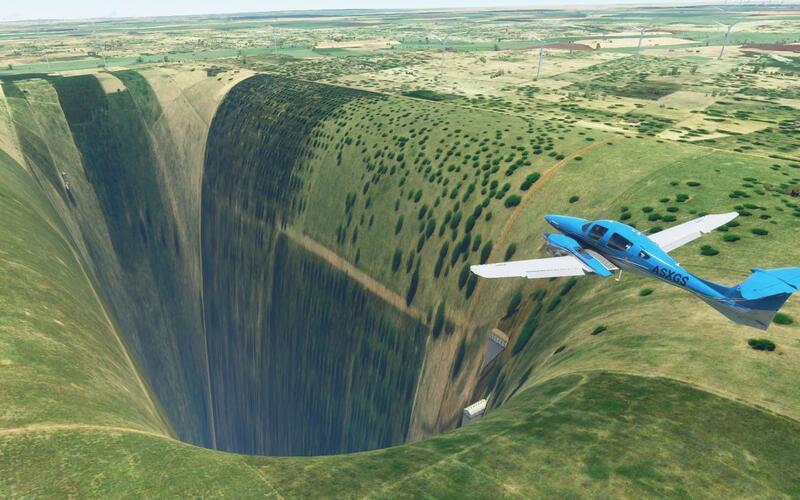 В Microsoft Flight Simulator был найден аэропорт на дне огромной пропасти