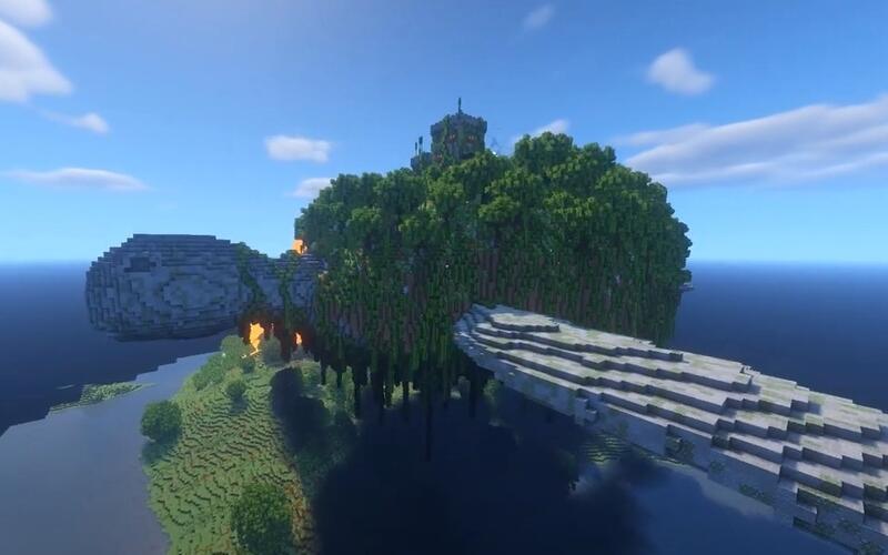 В Minecraft построили огромную летающую черепаху с замком на спине