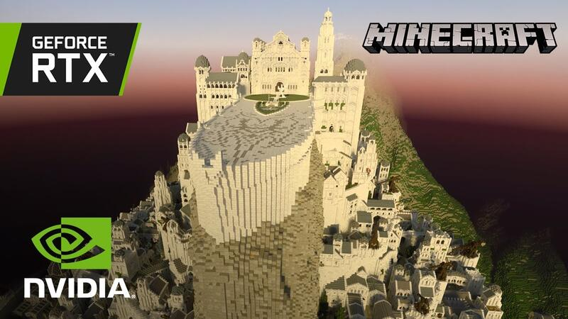 Минас Тирит из Властелина колец в Minecraft с функцией трассировки лучей