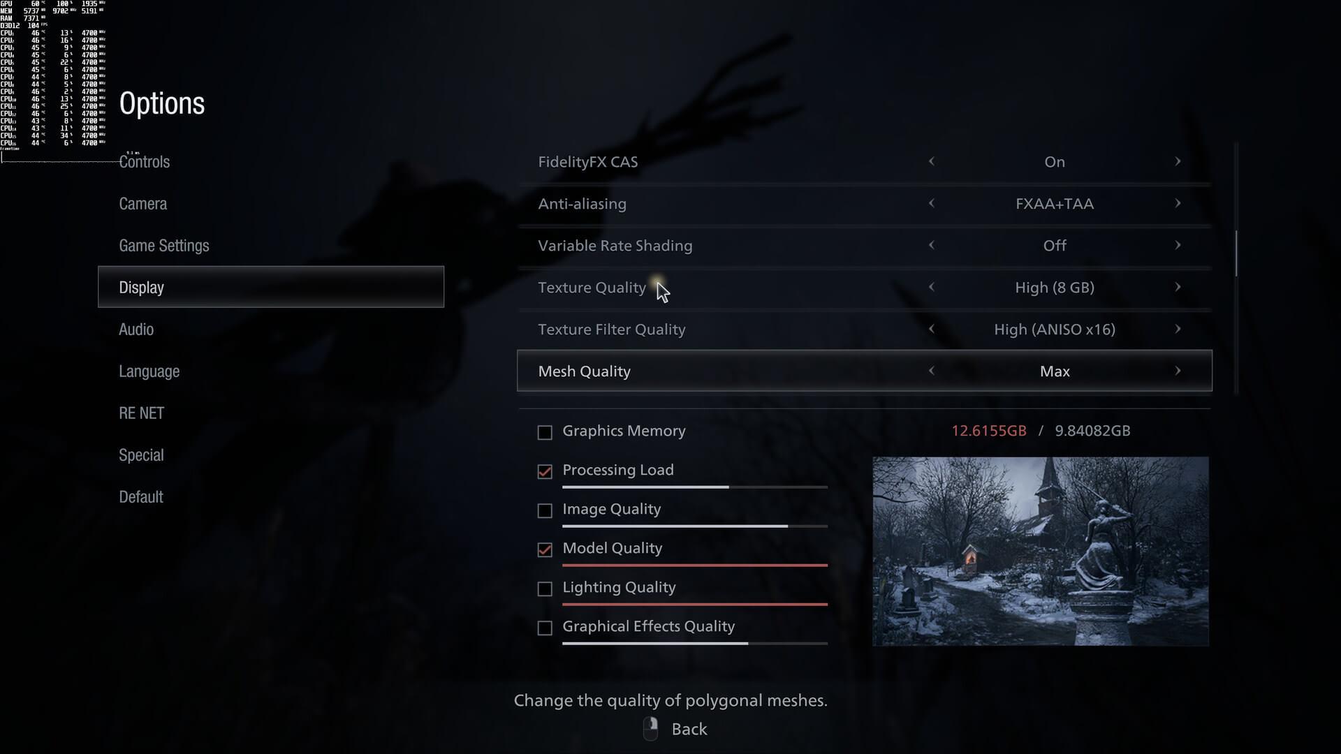 Настройки графики в Resident Evil Village